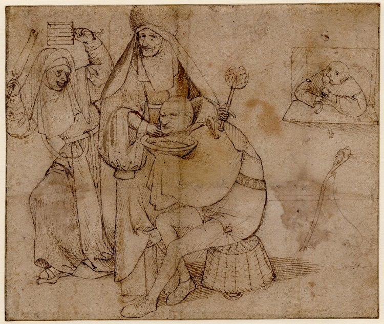 A fool, seated on a basket, about to be shaved by a nun holding a wafer iron by Hieronymus Bosch