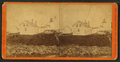 A lighthouse, with rock fence and house in foreground, by Henry Bailey.png