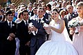A pair of white doves released outside a cathedral after a wedding ceremony in Sydney, Australia 01.jpg