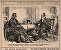 A physician advising his reluctant patient to avoid alcohol Wellcome V0011382.jpg