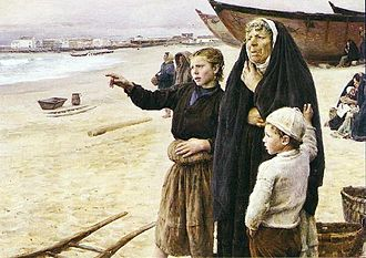 Culture of Póvoa de Varzim - Painting A Volta dos Barcos (1891) with several identity elements such as Poveiro boats, women's clothing and boy with a Catalim cap.