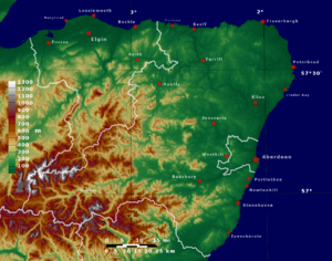 Moray - Topographic map of Moray and Aberdeenshire
