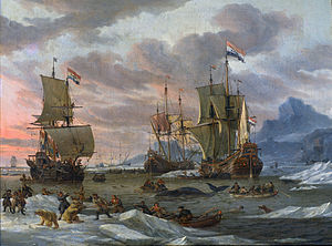 Whaling in the Netherlands - This late-17th-century Dutch whaling scene, Walvisvangst, was captured by a contemporary artist, Abraham Storck. The painting is in the collection of the Rijksmuseum in Amsterdam.
