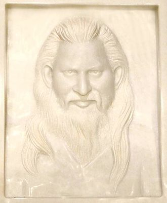 Sushil Kumar (Jain monk) - Picture of a marble plaque showing Acharya Sushil Kumar (from a private collection)