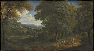 Adriaen Frans Boudewijns - A wooded landscape with horsemen greeting travelers on a path