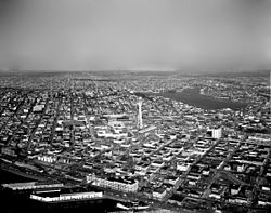 Aerial view of Century 21 Exposition grounds and environs, 1962.jpg