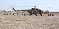 Afghan National Army soldiers with the 215th Corps provide security for an Mi-17 helicopter during a training exercise as part of a class at Camp Shorabak in Helmand province, Afghanistan, Feb. 19, 2014 140219-M-PF875-020.jpg