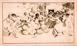 Watermelon stereotype - Image: African Americans dancing around a pile of watermelons