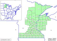 A map highlighting numerous contiguous counties in east and south Minnesota along with several contiguous counties in northwest Wisconsin.