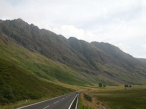 Scrambling - The Aonach Eagach above the A82, looking up Glen Coe, Scotland.