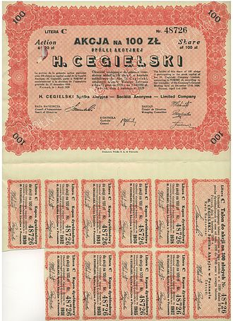 Traditional investments - An old stock certificate from Poland with most of the coupons still attached.