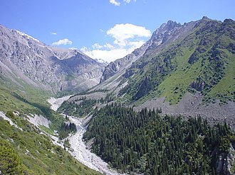 Chuy Region - Looking up the Ala Archa river valley in the mountains south of Bishkek