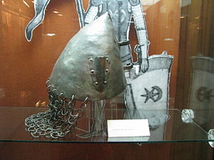 Alba Iulia National Museum of the Union 2011 - Crusader Helmet, 12th Century AD.JPG