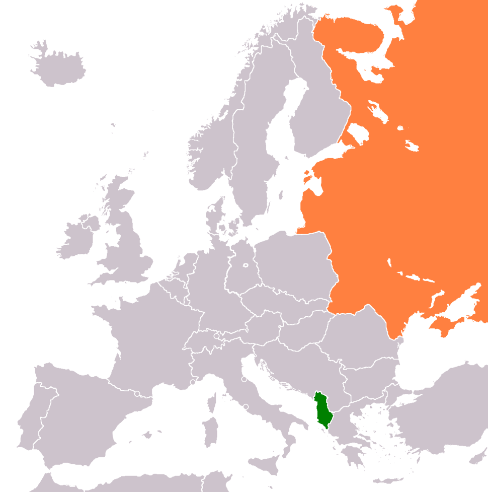 Map indicating locations of People's Socialist Republic of Albania and Soviet Union