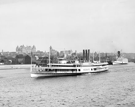 The steamer Albany departs for New York City; at the height of steam travel in 1884, more than 1.5 million passengers took the trip. Albany Steamer.jpg