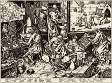 Laboratorio alchemico (illustrazione di Pieter Bruegel il Vecchio).