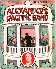 A cover by artist John Frew depicting a fictional bandleader Alexander and his men performing in a bandstand.