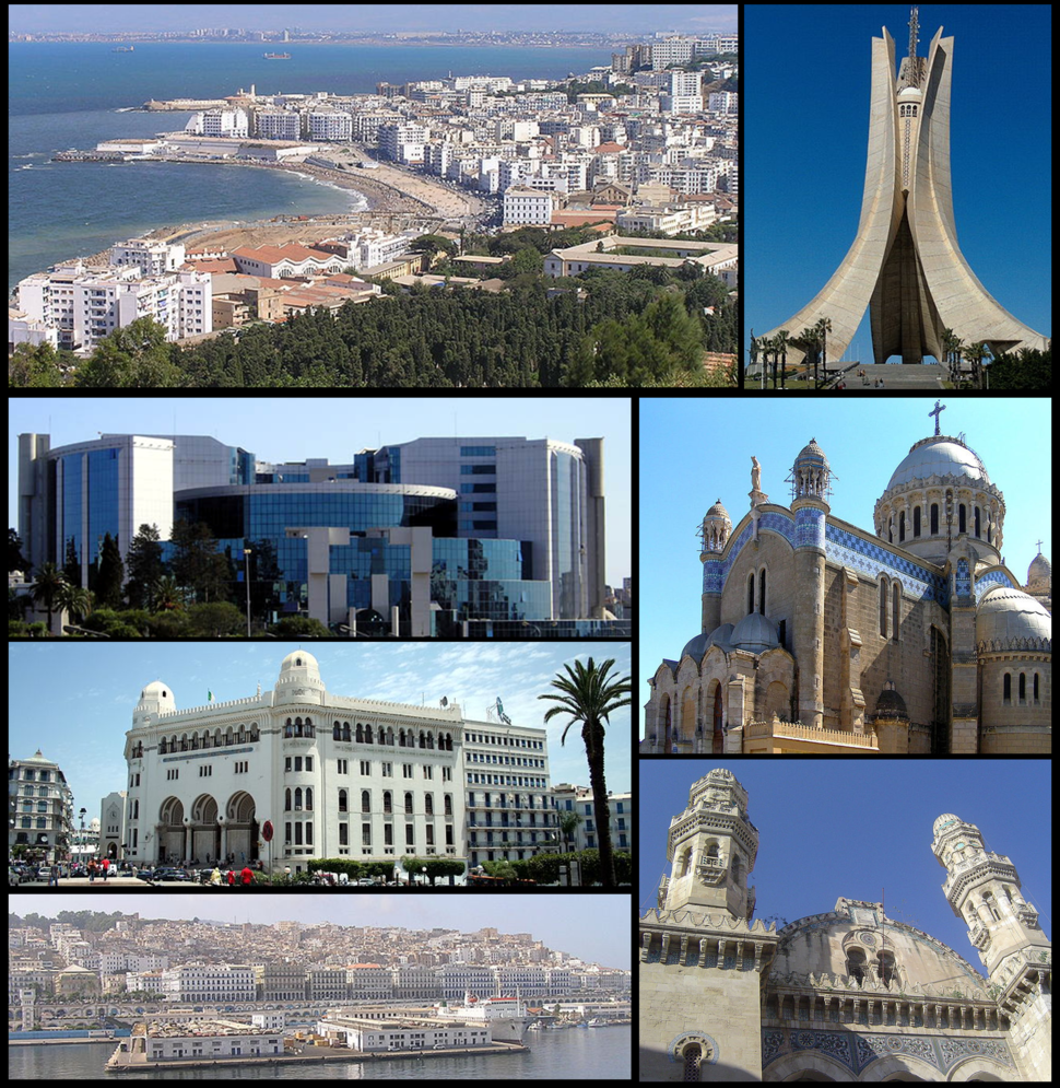 Clockwise: Buildings along the Mediterranean coast of Algiers, Martyrs Memorial, Notre-Dame d'Afrique, Ketchaoua Mosque, Casbah, the Grand Post Office and the Ministry of Finance of Algeria