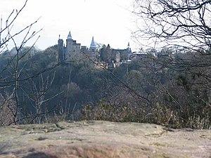 John Talbot, 16th Earl of Shrewsbury - Alton Castle from across the Churnet Valley