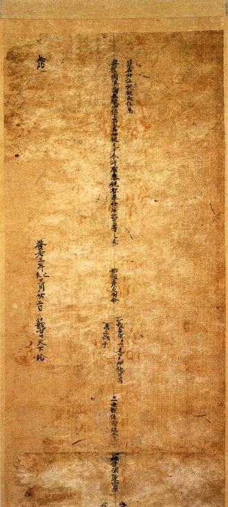Kono Shrine - Genealogy of Amabe Clan, national treasure