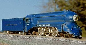 """American Flyer - American Flyer S-gauge model from the early 1950s of the B&O 4-6-2 """"Pacific"""" steam locomotive, as streamlined in 1937 by Otto Kuhler for the Royal Blue train."""