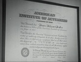 Society of Actuaries - Shot of an old diploma issued by the AIA.