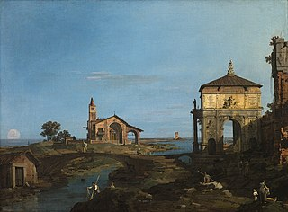 An Island in the Lagoon with a Gateway and a Church