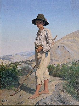 Frederik Vermehren - An Italian shepherd boy (1856)
