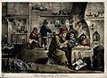 An alchemist with his assistants in his laboratory. Coloured Wellcome V0025539.jpg