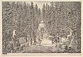 An avenue lined with statues in a pine forest, jets of water issuing from the ground, various figures in center, a small building in background center, from 'Views of the villa at Pratolino' (Vues de la villa de Pratolino) MET DP827726.jpg