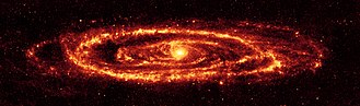 Andromeda Galaxy - Image of the Andromeda Galaxy taken by Spitzer in infrared, 24 micrometres (Credit:NASA/JPL–Caltech/Karl D. Gordon, University of Arizona).