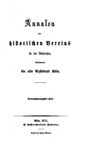 File:Annalen des Historischen Vereins für den Niederrhein 23 (1871).djvu