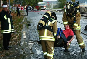 Emergency medical responder - Emergency responders are tested during a training exercise.