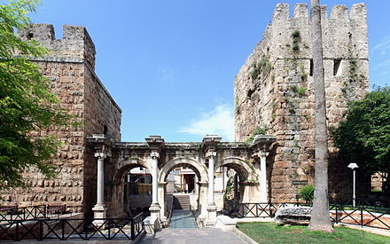 Hadrian's Gate, built in the honor of the Roman emperor Hadrian, who visited Attalea in the year 130. Antalya - Hadrian's Gate.jpg