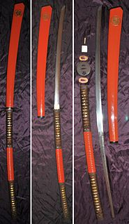 Japanese sword with an extra long handle