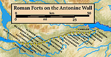 map of Antonine wall with forts