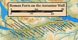 Falkirk - Forts on the Antonine Wall from west to east: Bishopton, Old Kilpatrick, Duntocher, Cleddans, Castlehill, Bearsden, Summerston, Balmuildy, Wilderness Plantation, Cadder, Glasgow Bridge, Kirkintilloch, Auchendavy, Bar Hill, Croy Hill, Westerwood, Castlecary, Seabegs, Rough Castle, Camelon, Watling Lodge, Falkirk, Mumrills, Inveravon, Kinneil, Carriden