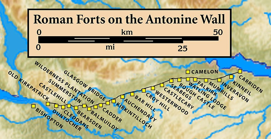 Forts and Fortlets associated with the Antonine Wall from west to east: Bishopton, Old Kilpatrick, Duntocher, Cleddans, Castlehill, Bearsden, Summerston, Balmuildy, Wilderness Plantation, Cadder, Glasgow Bridge, Kirkintilloch, Auchendavy, Bar Hill, Croy Hill, Westerwood, Castlecary, Seabegs, Rough Castle, Camelon, Watling Lodge, Falkirk, Mumrills, Inveravon, Kinneil, Carriden Antonine.Wall.Roman.forts.jpg
