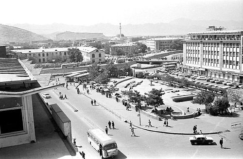 Center of Kabul in 1979; the Pul-e Khishti bridge crosses the Kabul River to the old city in the south bank Anyone recognise this%3F.jpg