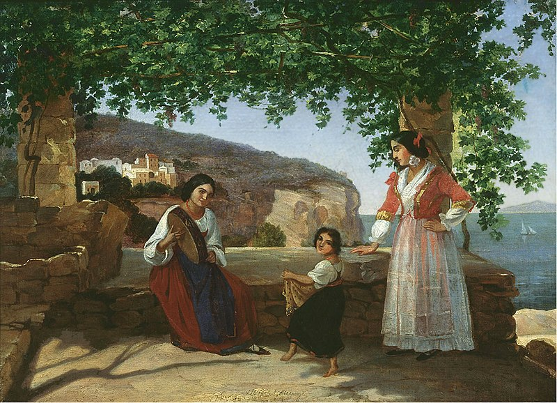 Italian women dance the tarantella, 1846