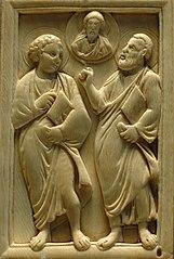 Deux apôtres entourant le Christ
