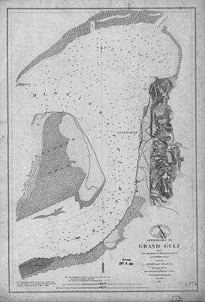 Battle of Grand Gulf - Map of the approaches to Grand Gulf