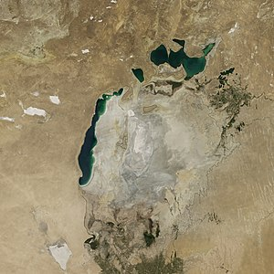 Aralkum Desert - Aralkum with the remaining areas of the Aral Sea in 2014