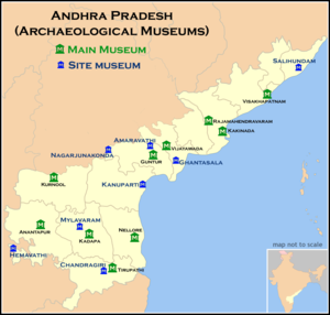 Chandragiri - Map of the Archaeological Museums (as of 31-01-2017) in the state of Andhra Pradesh. Chandragiri has a famous and important site museum