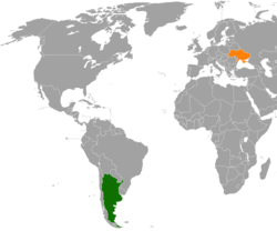 Map indicating locations of Argentina and Ukraine