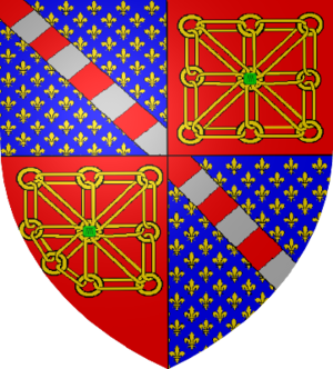 Compone - The Capetian counts of Évreux differenced the French royal arms with a bend compony.