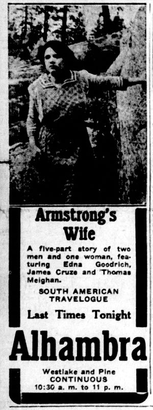 Armstrong's Wife - Newspaper advertisement