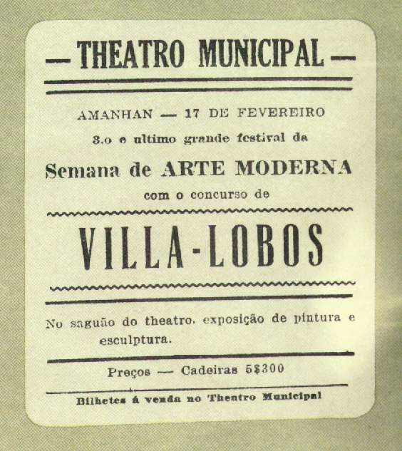 poster announcing appearance of Villa-Lobos in São Paulo (17 February 1922)