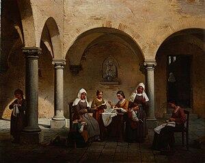 Gaetano Chierici - La lezione al convento, 1864 (Fondazione Cariplo)