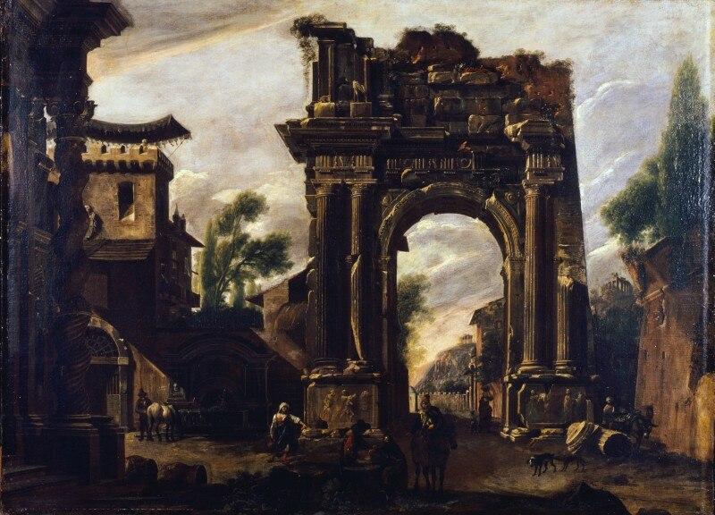 Artgate Fondazione Cariplo - Codazzi Viviano, Capriccio con un arco e scena di genere